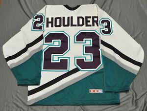 BILL HOULDER #23 ANAHEIM MIGHTY DUCKS CCM VINTAGE WHITE JERSEY NHL MEN SEWN S