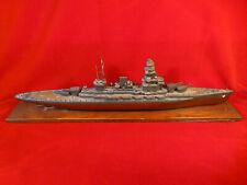 Historical Ww2 Era Handmade Bismark Battleship Model Made By Ship'S Carpenter