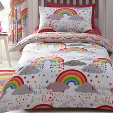 Rainbows Clouds Double Duvet Cover Set Cotton Mix Bedding Stars Hearts