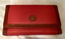 Vintage Dooney Bourke All Weather Leather Large Wallet RED & British Tan Brown