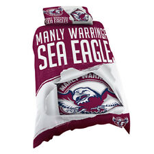 123706 MANLY SEA EAGLES NRL LOGO DESIGN SINGLE DOONA QUILT COVER BED SET