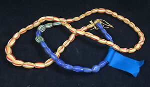 "Antique African Italian Trade Bead Necklace #3 Millefiore 30"" Beads Glass Straw"