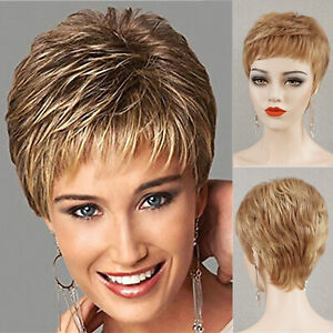 Short Blonde Pixie Wig 100 Human Hair Wig for White Women Handmade Fashion Wigs