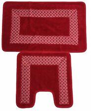 Trellis Border 2pc Non Slip Super Absorbent Pedestal and Bath Mat Set  Red