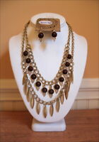Tribal Brown Beads Antiqued Gold Charms Crystals Layered Gypsy Necklace Set
