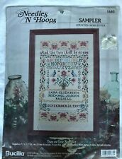 Bucilla Needles/Hoops Counted Cross Stitch #1680 Two As One Sampler Nip