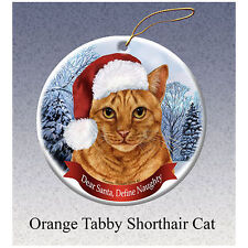 Orange Tabby Cat Howliday Porcelain China Dog Christmas Ornament