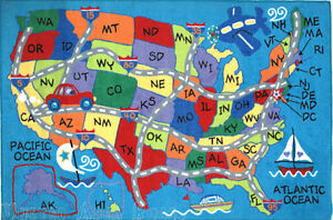 8x11  Educational  Area Rug USA Map States Kids Play Road School Time Blue