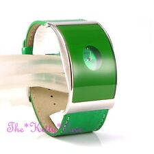 Retro Curved Glass Designer Eames Wide Silver Statement Green Leather Cuff Watch
