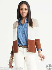 NWT New Banana Republic Winter Foliage Piped Colorblock Sweater Jacket Size S