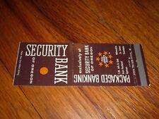 SECURITY BANK OF OREGON Vintage Matchbook Cover Portland Milwaukie Troutdale old