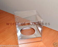 Single Clear Plastic Cupcake Boxes Box Silver Insert Paper Wedding Set of  50