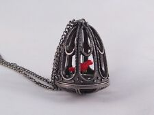 "New 34"" Victorian Style Bird Cage Necklace with a Red Canary Bird #N2039R"