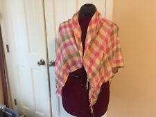 LADIES SMALL BLANKET SCARF MULTI-COLORED PLAIDS FRINGED ENDS NECK WRAP WINTERWEA