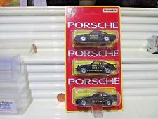 Matchbox 1989 MP804 Set of 3 Black Porsches, 959, 911 Turbo, + 944 Turbo NuBblPk
