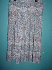 Koret jade green and beige pleated paisley skirt  Size L (Large)