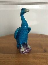 Vintage Chinese Porcelain Small Turquoise Blue Duck Figurine