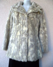 VTG Natural MINK COAT Short Jacket Spotted Cat Look Blonde REAL Fur Wide Collar