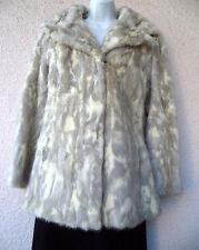 VTG Natural MINK COAT Short Jacket Spotted Cat Look Blonde REAL Fur Wide Collar