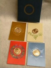 1976 Collector Christmas Hanukkah Medal Cards Set 4 with Bronze Medallion Mint