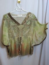 Cato Sheer Sequin Bat Wing Top Blouse Brown Bronze Sage Evening Large