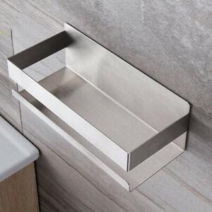 Brushed Nickel Bathroom Rectangle Shower Shelf Storage Holder SUS No Drilling