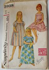 Vintage Simplicity Sewing Pattern #3938 Girls Size 12 MUMU Or Nightgown 2 Length