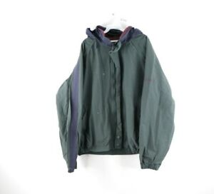 Vtg 90s Nautica Mens XL Stitched Spell Out Full Zip Hooded Parka Jacket Green
