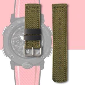 Watch Strap Band for G-Shock GA-2000 GA2000 GA-2000E-4 Canvas Strap 24mm Green