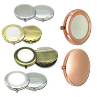 Small Compact 7cm Rose Gold Color Metal Double Sided Mirror Handbag Makeup Prett