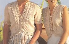 Ladies Short Sleeve Lacy Cardigan + Waistcoat DK Knitting Pattern