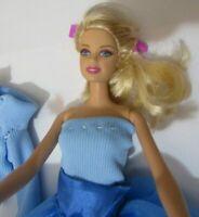 Barbie Blonde Doll blue dress & blue high heels straight limbs