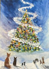 Art Print ACEO, Forest Magical Christmas Animals Fox Mice Rabbits Snow Squirrel