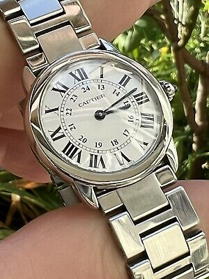 Gents Cartier Solo De Ronde Stainless Steel Silver Dial boxed