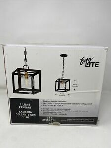 Easy Lite 1-Light Black and Gold Pendant With Clear Glass, 8.3in X 8.3in X 10.5