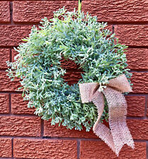 LARGE 36CM ARTIFICIAL HERBS HELICHRYSUM WREATH CENTREPIECE HOME DECOR COUNTRY