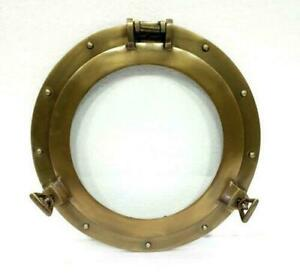 "Nautical porthole round window glass 12"" boat ship porthole antique decorative"