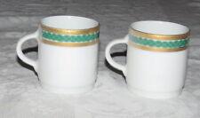 "Tirschenreuth Bavaria Germany TWO 2.1/8"" Coffee Demitasse Cups Gold Green Trim"