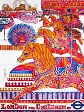 VINTAGE ADVERT LONDON CHILDREN CAROUSEL HORSE LION NEW ART PRINT POSTER CC4737