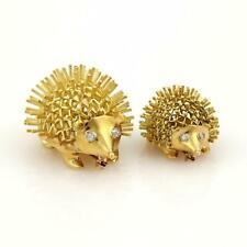 & Baby Porcupine Brooch Pins Liquidation New listing Estate Diamonds 18k Ygold Mother