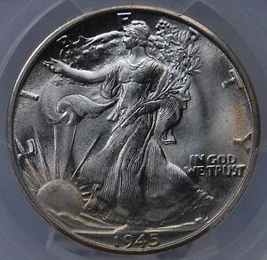 1945 D WALKING LIBERTY HALF DOLLAR PCGS MS 66 FANTASTIC MINT BLOOM AND GORGEOUS