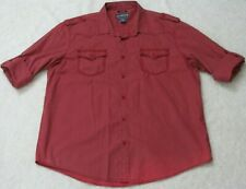 American Rag Cie Red Mans Two Pocket Dress Shirt Cotton Long Sleeve Size XXL 2XL