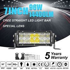7Inch 96W Lens CREE LED Strip Spot Flood Combo Work Light Bar Offroad Truck ATV