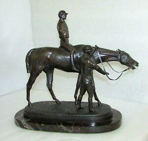 "J. WILLIS GOOD HORSE AND JOCKEY BRONZE SCULPTURE ""AFTER THE RACE"""