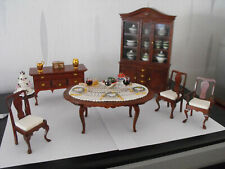 Maison de poupées miniature échelle 1//12th acajou en bois salle à manger Set DF268