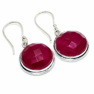"""Kashmir Red Ruby Gemstone 925 Sterling Silver Jewelry Earring 1.46 """" G398"""