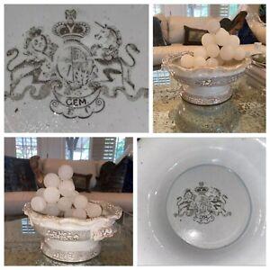 Antique Brown Staffordshire Pedestal Bowl Challinor 1850 Lion Handle Ironstone