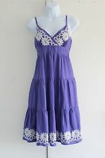 Size 8 OASIS JEANS Purple Sundress Adjustable Straps White Embroidery (272)