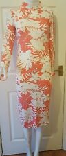 Ladies/womens NEW CORAL AND CREAM WOMENS FITTED DRESS  WITH LONG SLEEVE Size M/L