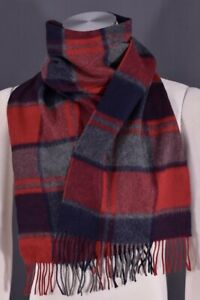 Saks Fifth Ave Red Multi Plaid Scotland Cashmere Merino Wool Fringe Men's Scarf
